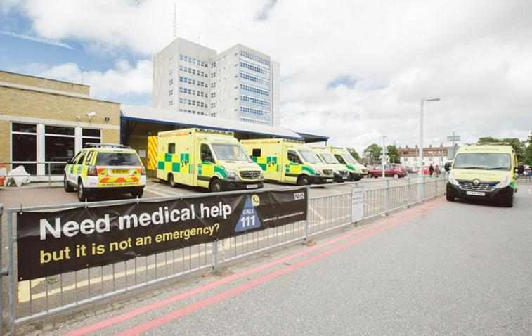 Southend Hospital with ambulances