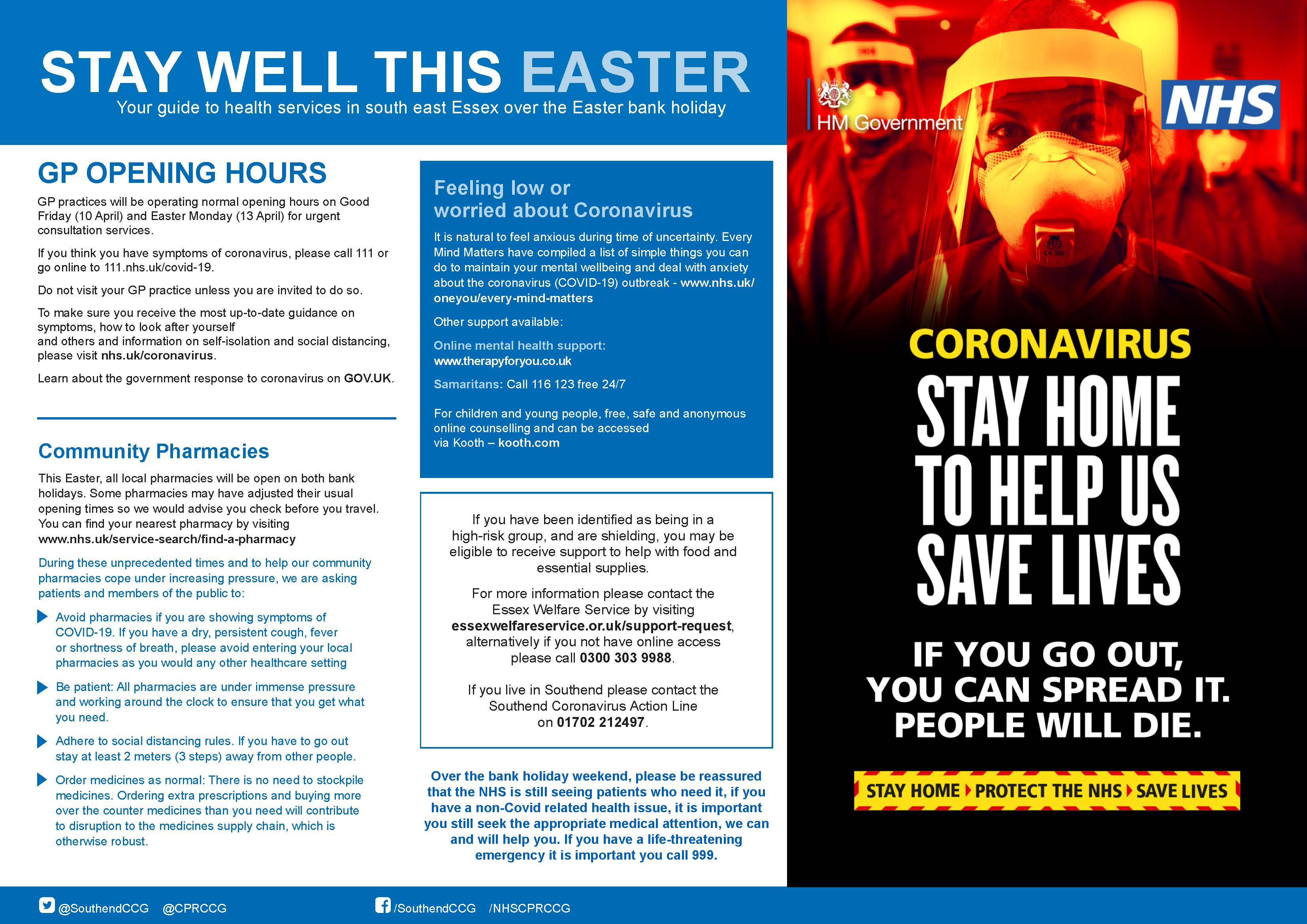 Stay well this easter 2020 posters South East Essex